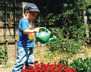 little boy watering the garden; child waters flowers