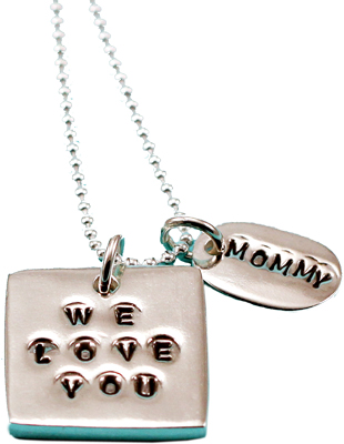 Sentimental Silver necklace; We Love You Mommy necklace