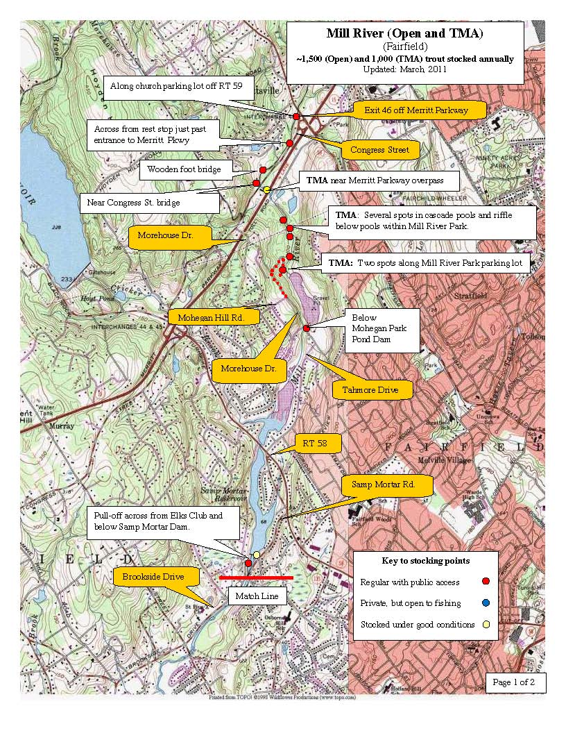 mill-river-fairfield, trout-stocking-map