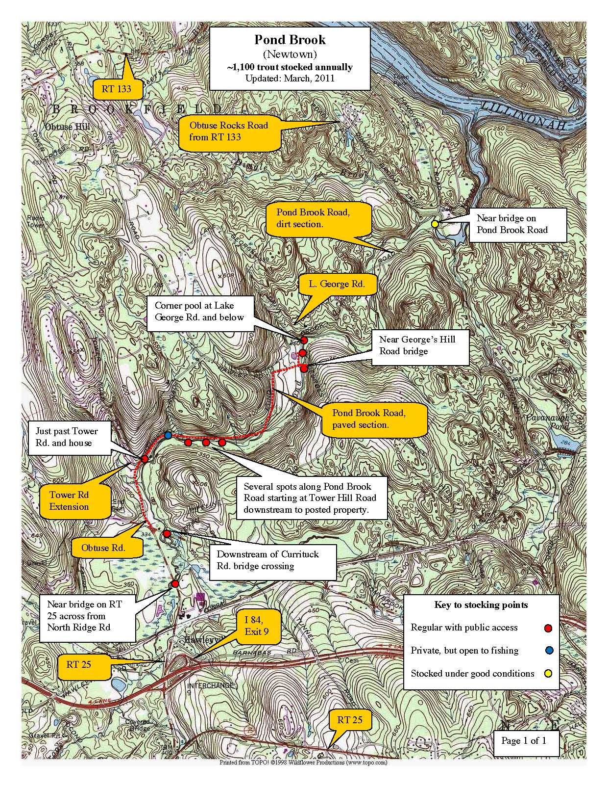 pond-brook-newtown, trout-stocking-map