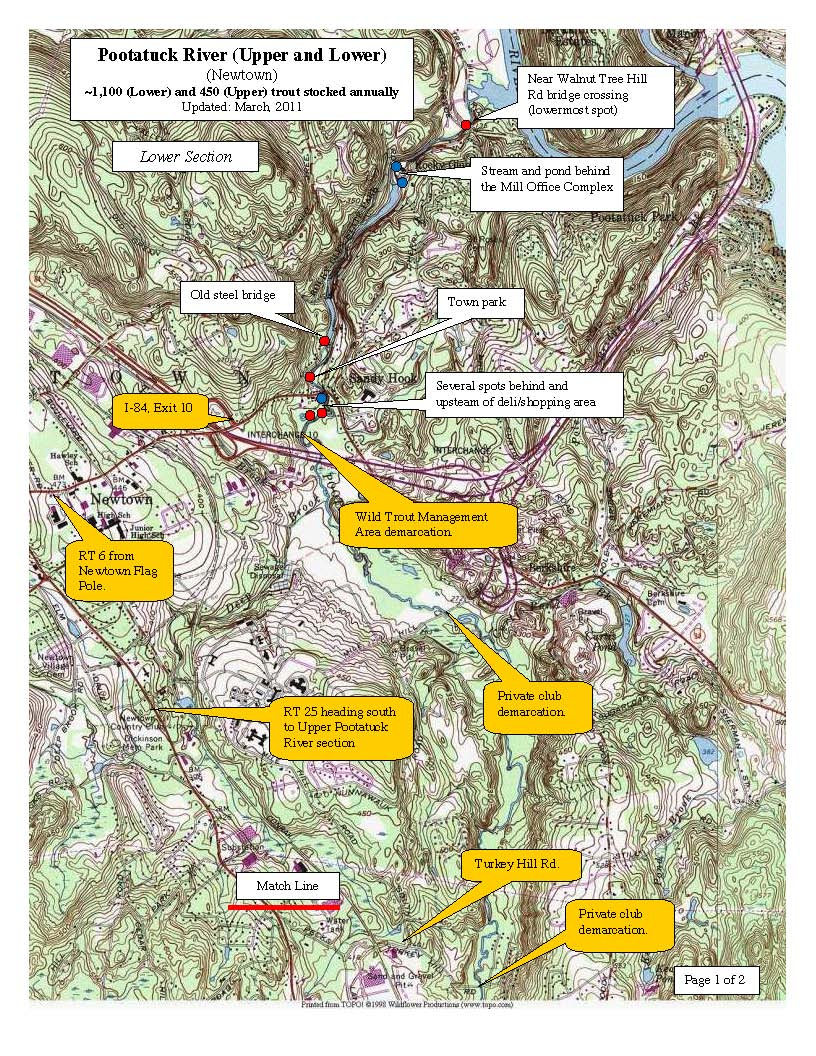 pootatuck-river-newtown, trout-stocking-map