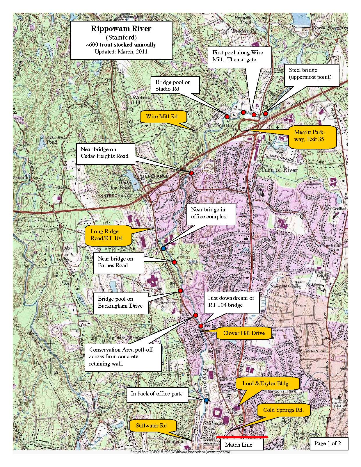 rippowam-river-stamford, trout-stocking-maps