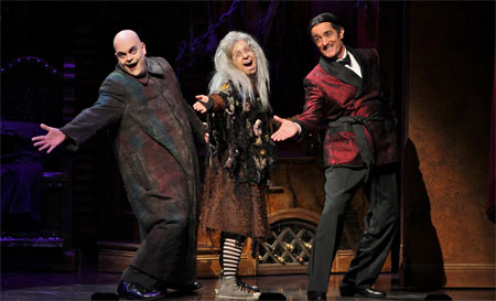 Brad Oscar, Jackie Hoffman, and Roger Rees in The Addams Family on Broadway