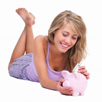 teen-girl-saves-money; responsible-money-saving