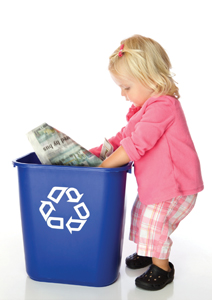 child learns to recycle; going green