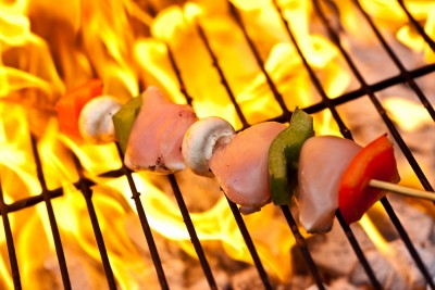 grilled chicken kebab with vegetables