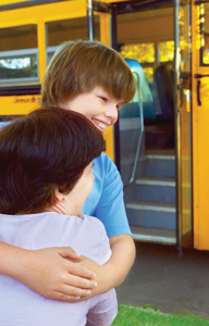 first day of school, leaving on the school bus