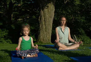 family yoga at Wave Hill