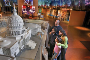 family looking at display at the National Constitution Center