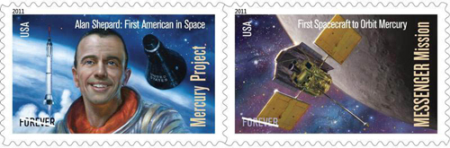 USA Forever Stamps; Mercury Project, MESSENGER Mission