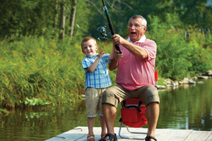 Grandfather and Grandson fishing on a dock