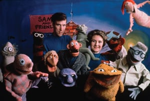 Jim Henson and Jane Nebel with Sam and Friends puppets