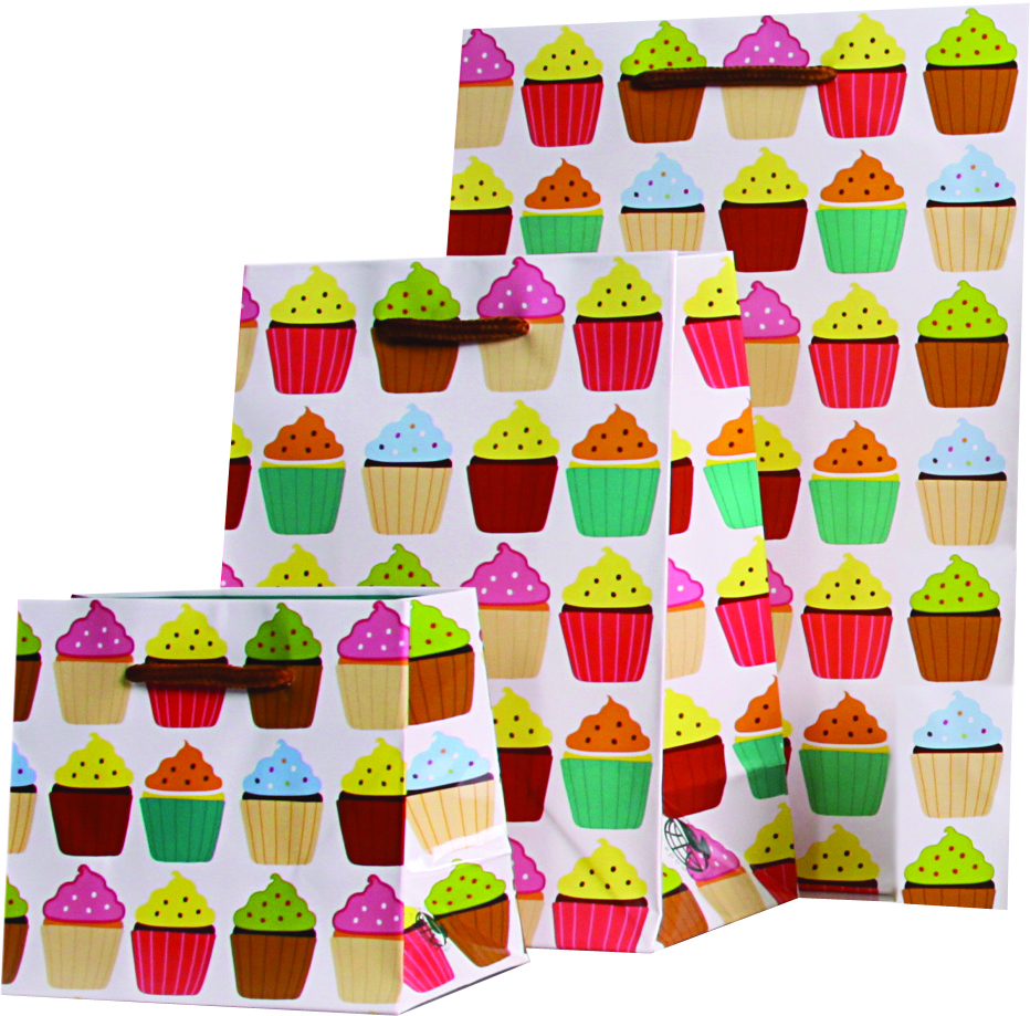Gift bags with cupcake print.