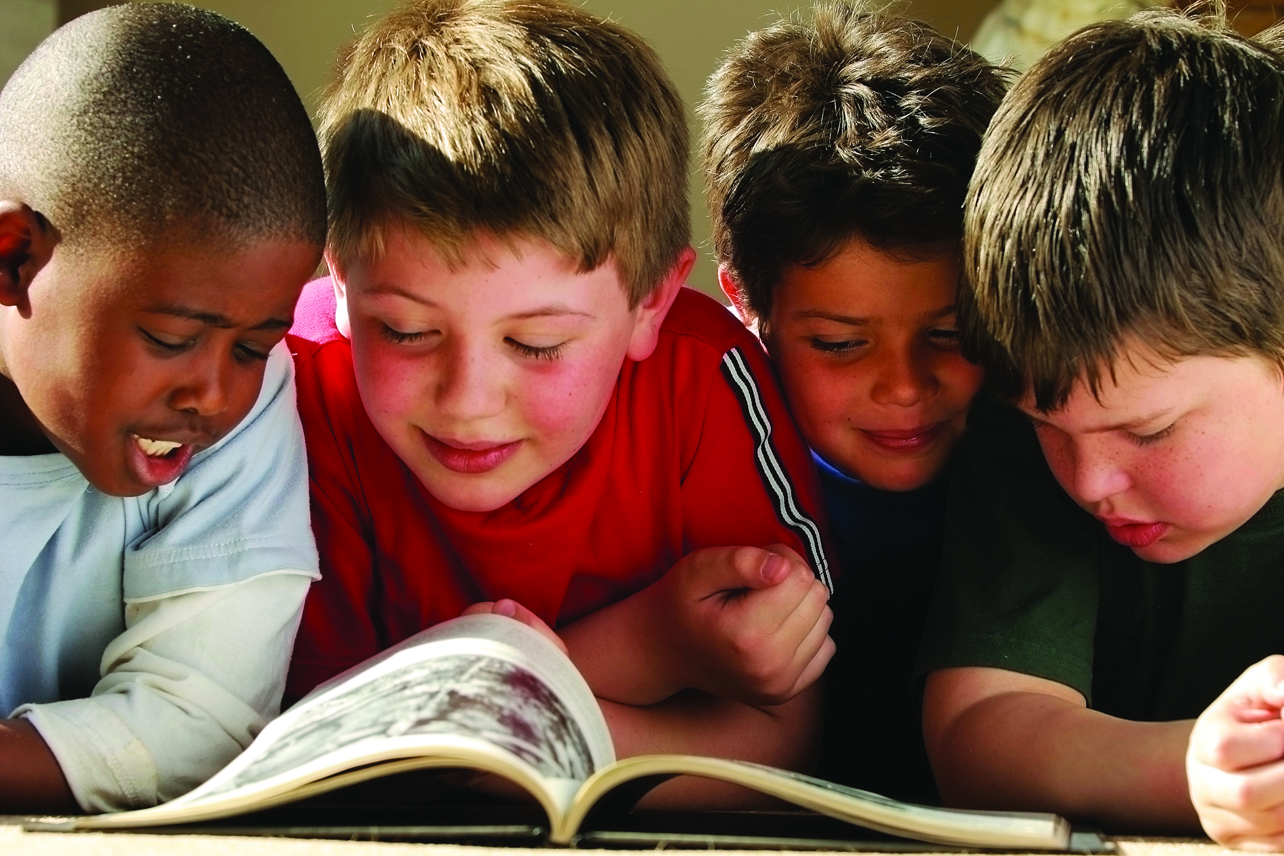 Young boys reading.