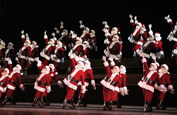 Dancing Santas in the Radio City Christmas Spectacular