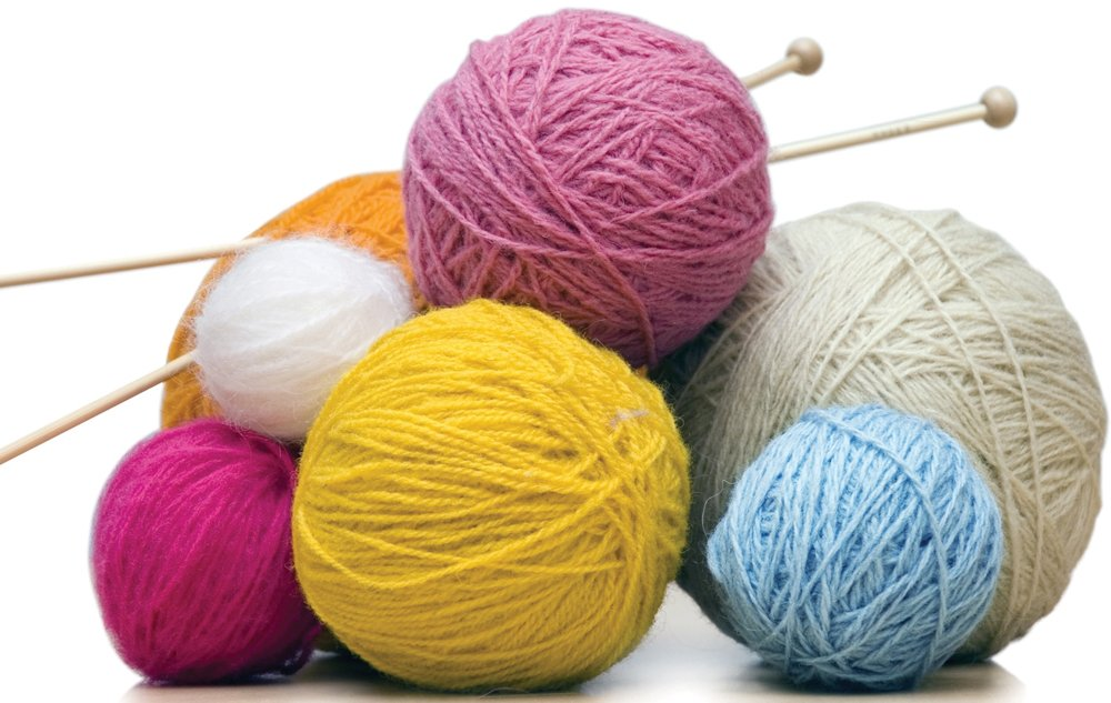 knitting yarn and needles