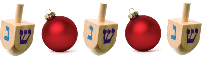 hanukkah driedels and christmas ornaments