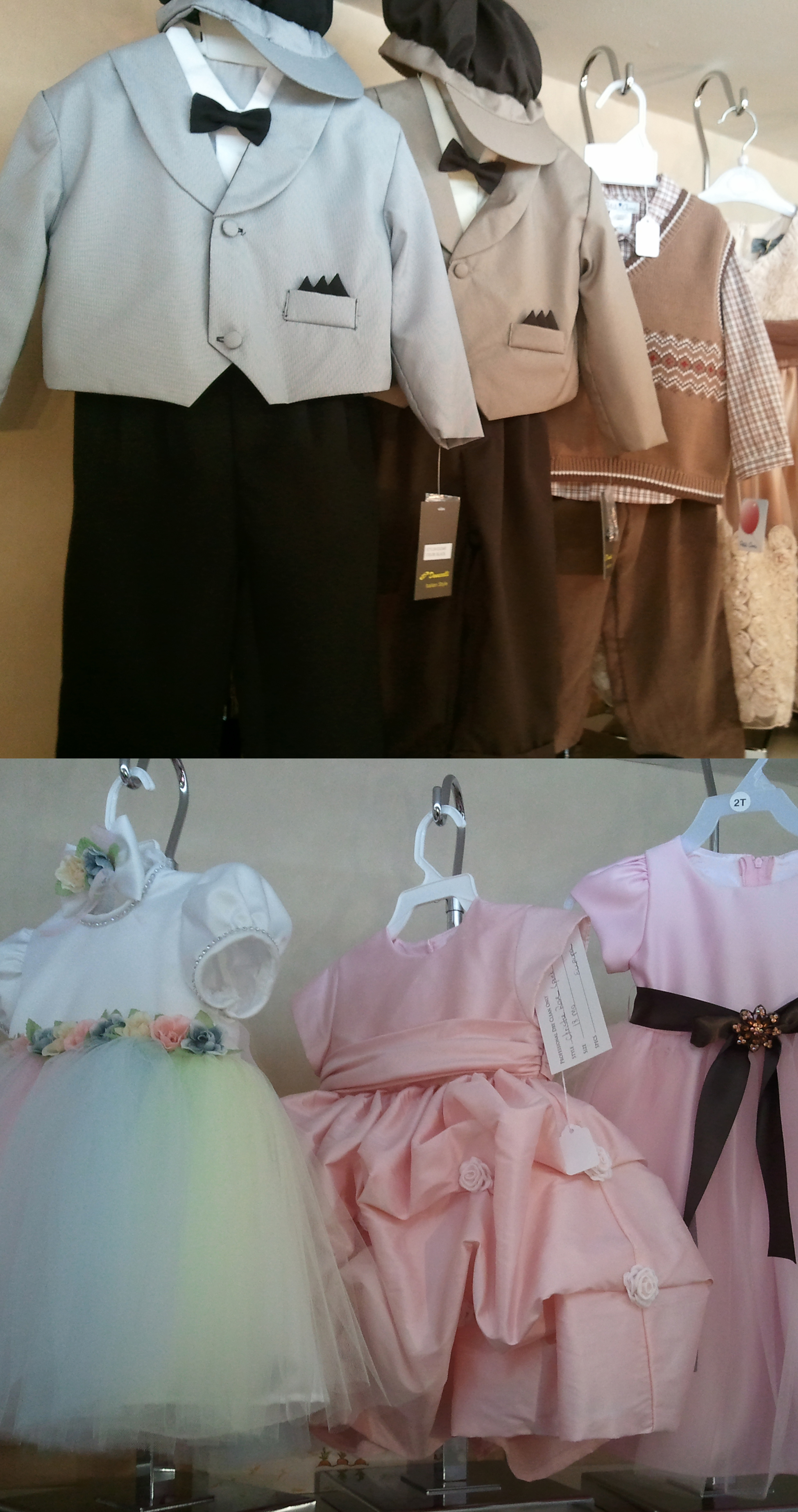 Europa specializes in communion gowns but also stocks christening outfits, suits, party dresses, coats, baby layettes, shoes, bibs, blankets, hats, jewelry, and accessories.