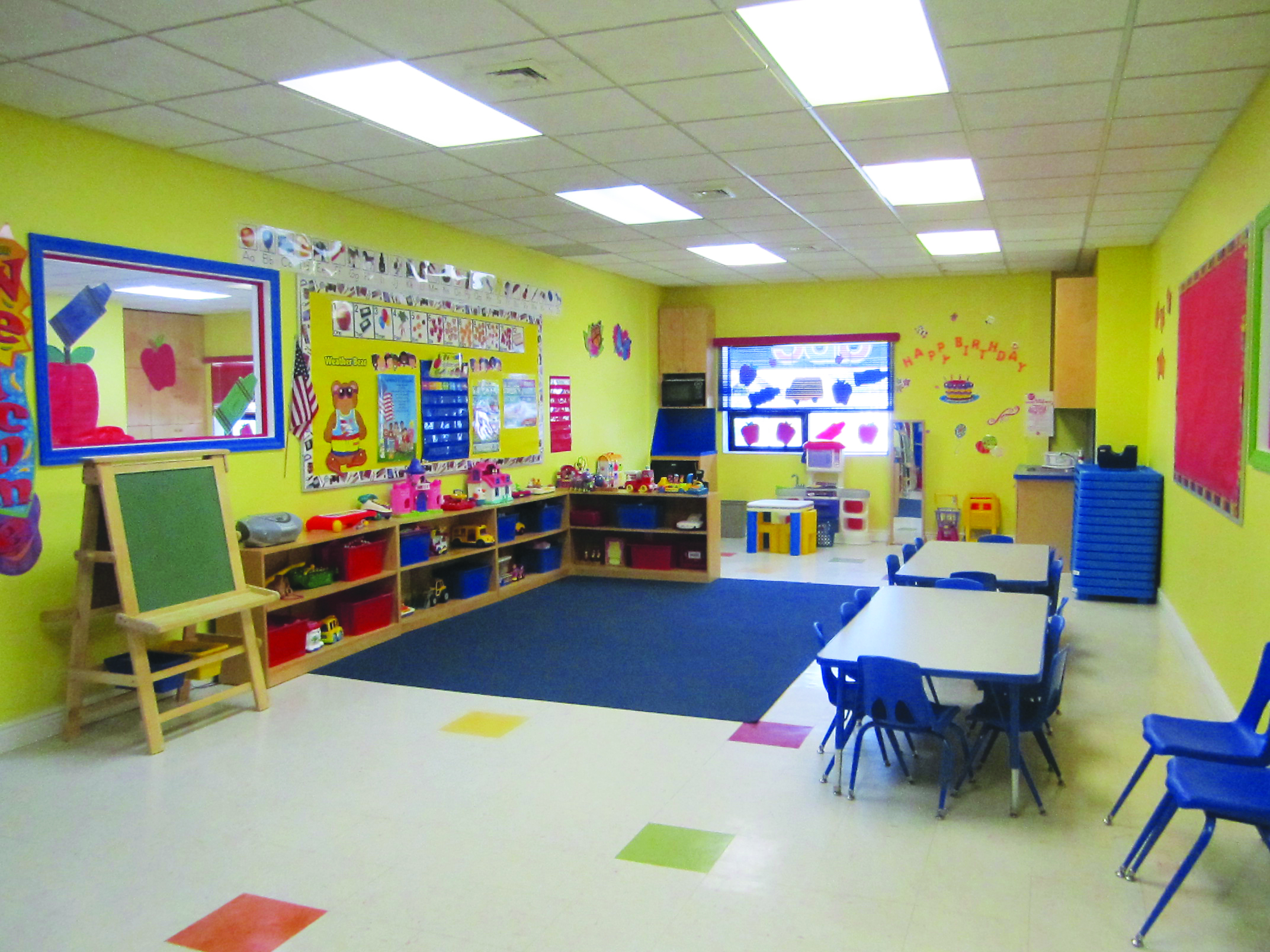 Sunshine Daycare Center's curriculum will emphasize reading, writing, math, and science skills, as well as fine and gross motor skills.