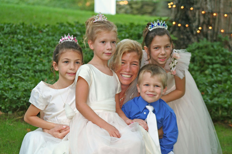 "Writer Marcelle Soviero surrounded by four of her five children on her wedding day -- the ""official"" blending of a new family unit."
