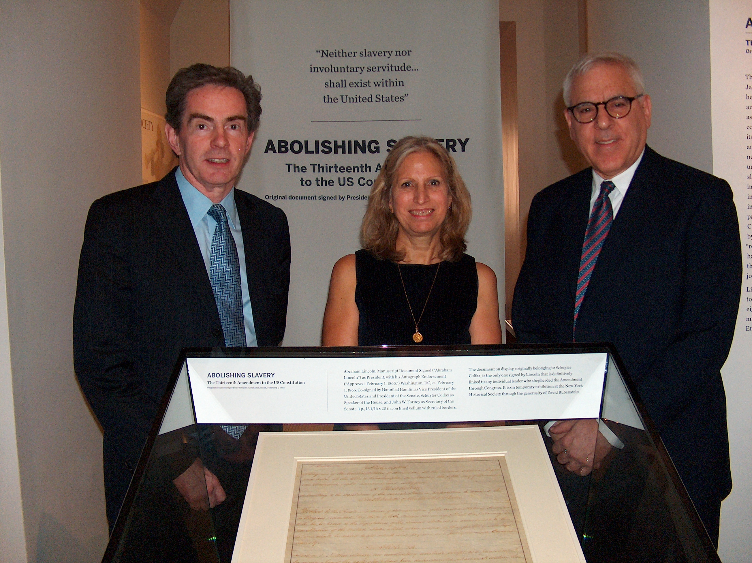 The New-York Historical Society unveiled a rare handwritten copy of the Thirteenth Amendment to the Constitution signed by Abraham Lincoln.