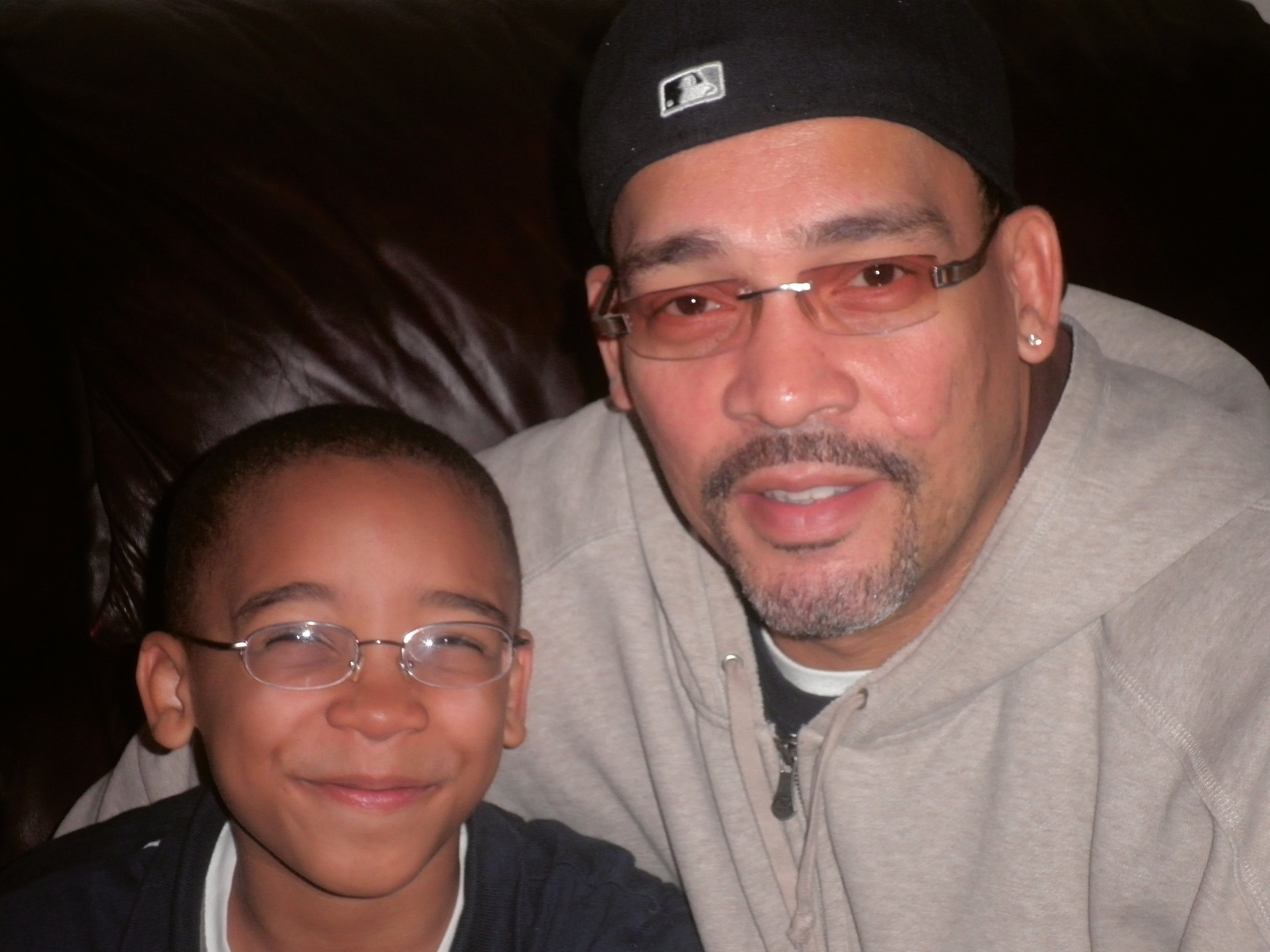 Charles Jones with his son, Malik, age 7.