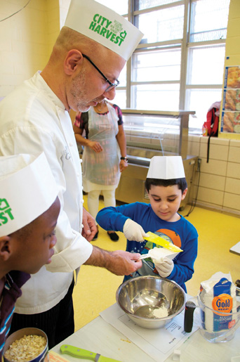 Chef Ron Ben-Israel teaches healthy dessert class with City Harvest in Brooklyn