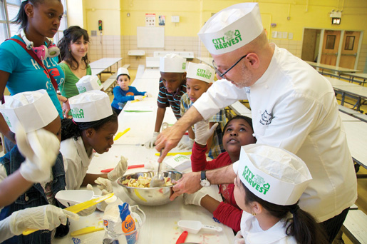 Chef Ron Ben-Israel teaches Brooklyn students to make healthy desserts