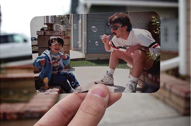 dear photograph father son bubbles