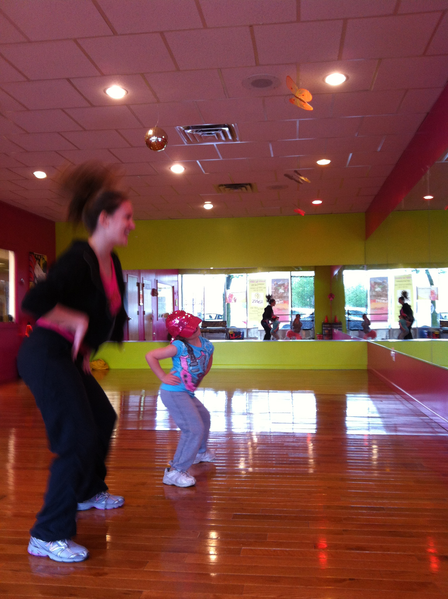 Ashley Corvino having a blast with licensed Zumbatomic instructor and special education teacher Marissa Hansen; Beth Levine