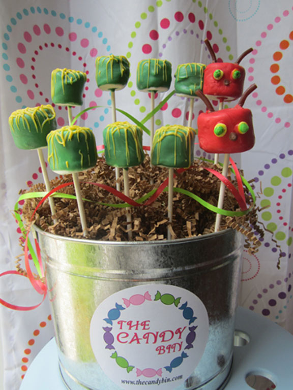 This marshmallow pop caterpillar bucket is just one of the many creations available at The Candy Bin; Courtesy The Candy Bin