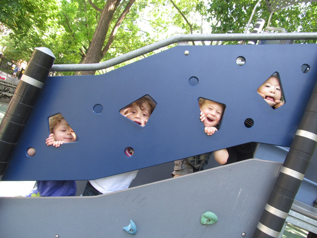 Left to right: Zoe Sergeyev, 2; Blaise Carr, 4; Jackson Soshnick, 3; and Lexi Huen, 3, play and learn at CCLC; courtesy CCLC.