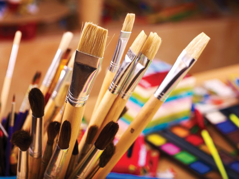 paintbrushes and art supplies