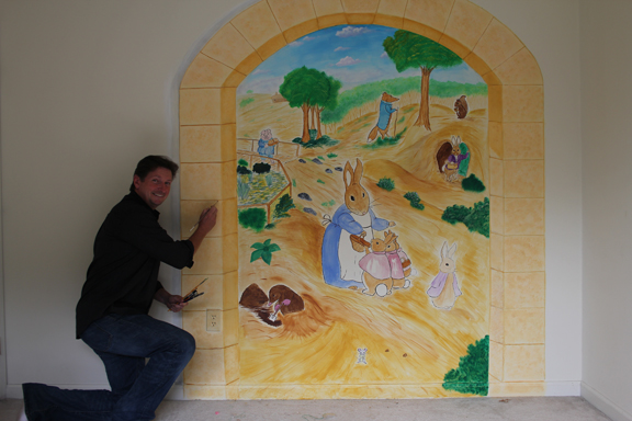 Patrick McCarthy combines his clients' visions and his own artistic talent to paint themed murals for homes and businesses; courtesy Patrick McCarthy.