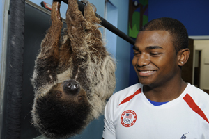 John Orozco olympic gymnast with sloth