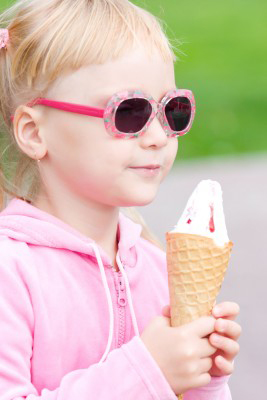 Little Girl With Sunglasses And Ice Cream