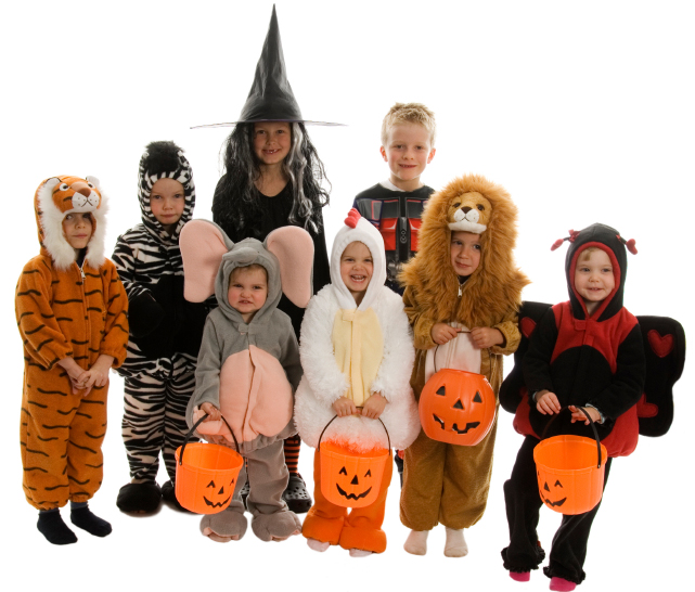 Halloween portrait of trick or treaters