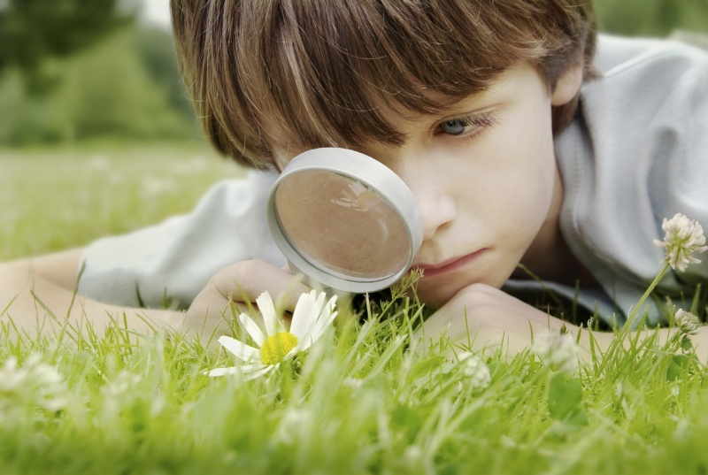 Curious boy with a magnifying glass