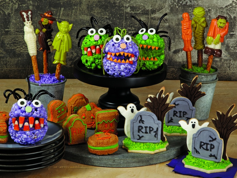 Popcorn Ball Monsters, Monsters on Parade Pretzels, Peanut Butter 3D Sandwich Cookies, and Ghostly Graveyard Cookies