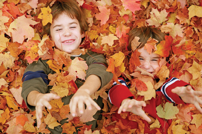 kids jumping in a leaf pile