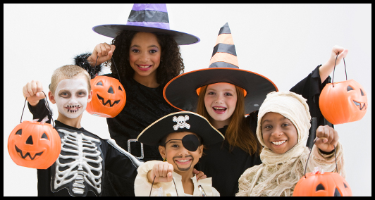kids in costume on halloween