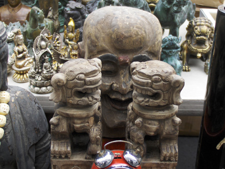Chinese and Indian statues in brass, bronze, and stone