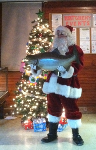 Santa at the Long Island fish hatchery aquarium