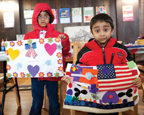 Wave HIll family art project, freedom pillows