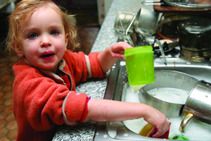 Little Child Doing Dishes