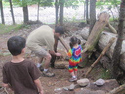 family building a shelter