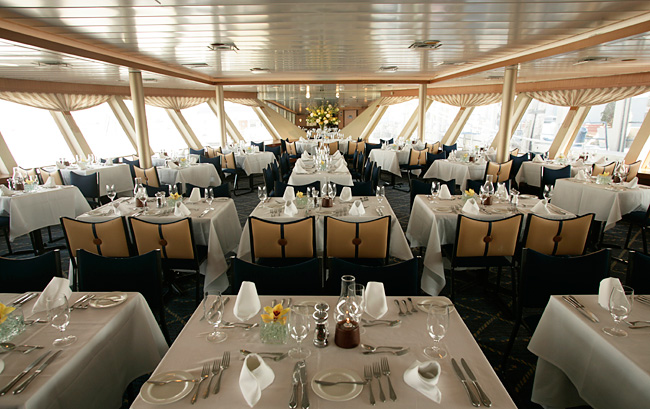 The interior dining space of World Yacht.
