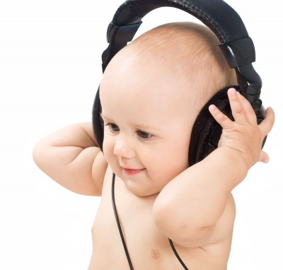 baby listening to headphones