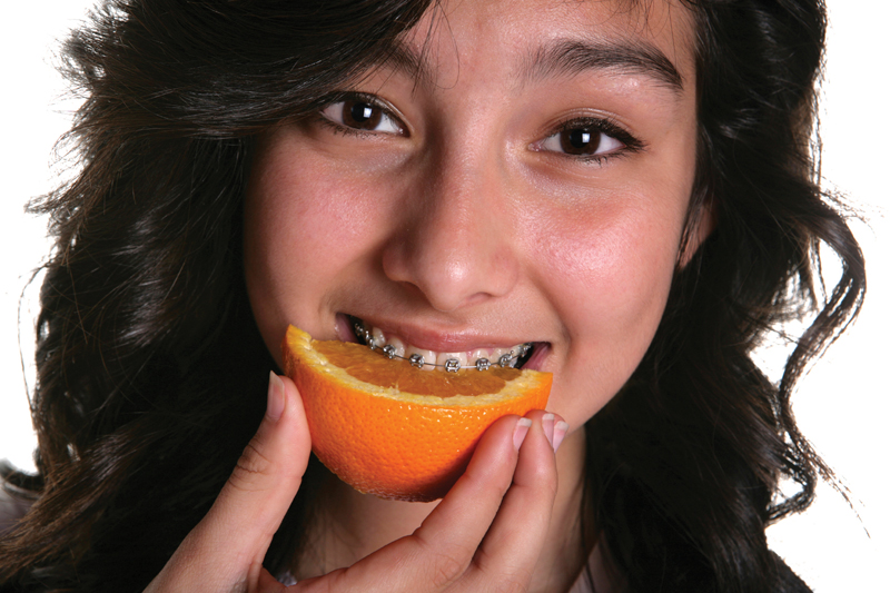 girl wearing braces