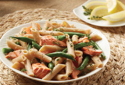 salmon and pasta with green beans